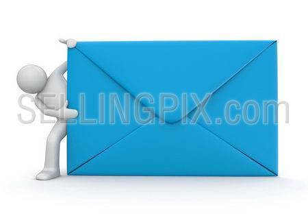 E-mail and character. Blue envelope. Isolated. One of a 1000+ 3d characters series.