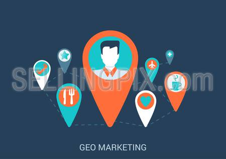 Flat style design vector illustration internet online geo gps map marketing targeting concept. Pin with profile avatar like plane coffee cafe pharmacy dating restaurant icons. Big flat collection.