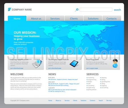 100% vector. 2011 modern website template. Ready to use webpage with logo, navigation, world map, icons, buttons, typography, search bar and other interface elements. Unique icons, unified style.