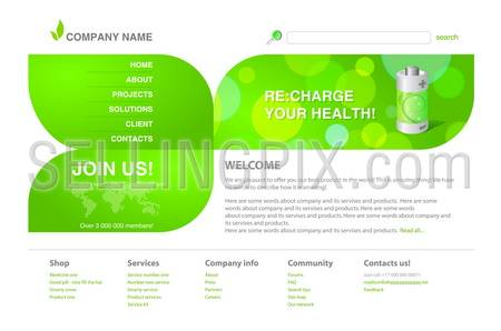 Ecology / green tech. 2011 modern website template. Ready to use webpage with logo, navigation, typography and other interface elements.