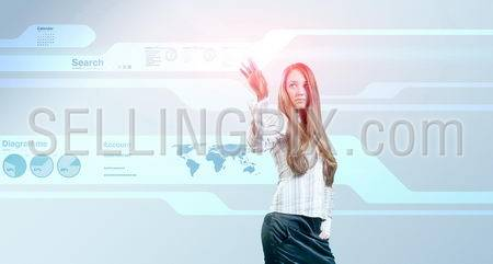 Lady touching hi-tech. Future Interfaces Collection.