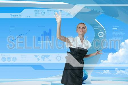 Future Style Interface Navigating By Attractive Blonde (outstanding business people in interiors / interfaces series)