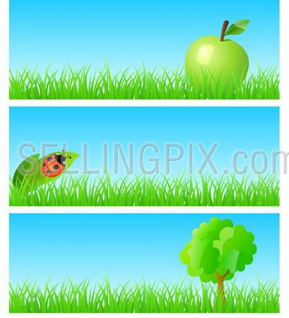 Vector triptych of objects on detailed grass. Apple, ladybird on a leaf, tree. Concept of new ecological nature friendly lifestyle. One of a series.