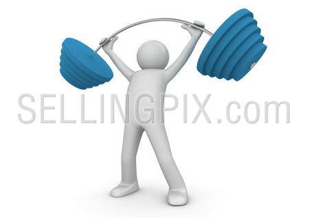 Weightlifter with barbell. Isolated. One of a 1000+ series.