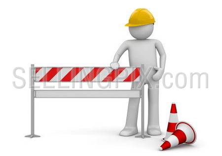 Under construction concept. Worker stands by the barrier. One of a 1000+ series.