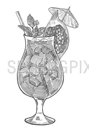 Engraving style hatching pen pencil painting illustration cocktail ice glass umbrella mojito image. Engrave hatch lithography drawing collection.