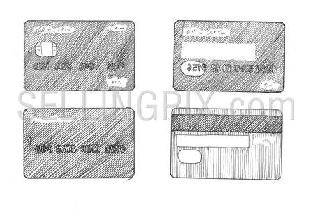 Engraving style hatching pen pencil painting illustration credit cards banking image. Engrave hatch lithography drawing collection.