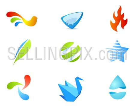 9 quality vector icons pack – different stylish abstract objects, fire flame, star, water drop, origami and bird shaped icons