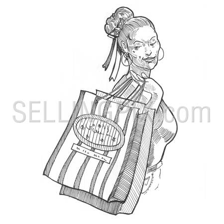 Engraving style hatching pen pencil painting illustration girl woman female shopping bag image. Engrave hatch lithography drawing collection.
