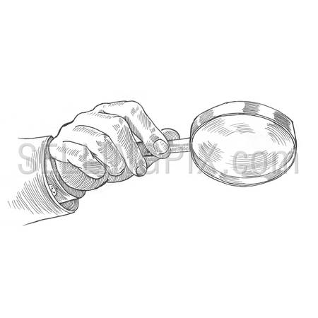 Engraving style hatching pen pencil painting illustration search concept image. Male hand holding mafnifying glass loupe. Engrave hatch lithography drawing collection.