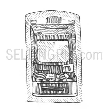 Engraving style hatching pen pencil painting illustration bank ATM image. Engrave hatch lithography drawing collection.