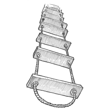 Engraving style hatching pen pencil painting illustration rope ladder to skies heaven success concept image. Engrave hatch lithography drawing collection.