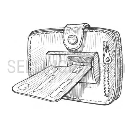 Engraving style hatching pen pencil painting illustration wallet credit card ATM hole concept image. Engrave hatch lithography drawing collection.