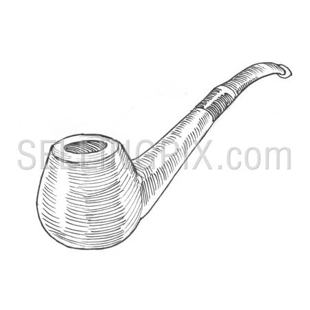 Engraving style hatching pen pencil painting illustration smoking pipe image. Engrave hatch lithography drawing collection.