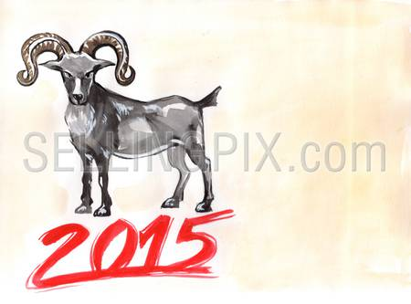 Watercolor hand drawn drawing painting illustration Chineese New Year 2015 Goat Horoscope sign. Big water color collection.