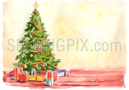 Watercolor hand drawn drawing painting illustration image Christmas New Year postcard template concept. Christmas tree in the room empty background. Big water color collection.