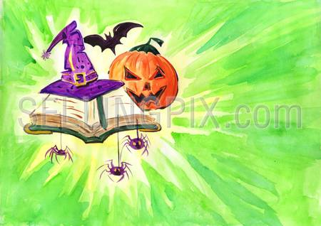 Watercolor hand drawn drawing painting illustration image Halloween holiday concept postcard poster template. Scary night forest tree bats black cat spider web. Big water color collection.