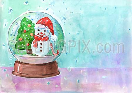Watercolor hand drawn drawing painting illustration image concept. Postcard template. Big water color collection.