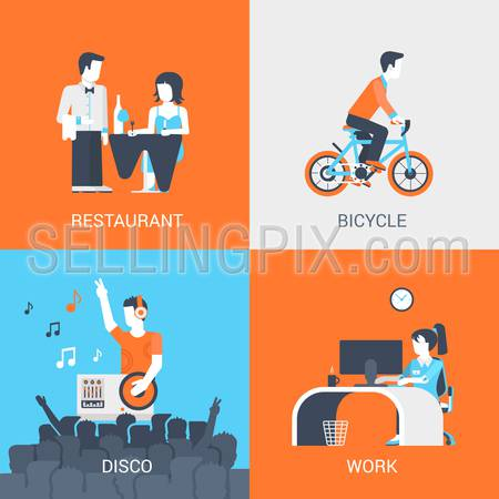 Lifestyle concept flat icons set of people leisure holidays at restaurant bicycle disco work and website click for infographics design web elements vector illustration.