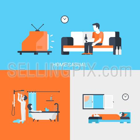 Lifestyle concept flat icons set of people leisure home casual tv beer bathroom bedroom sleep couple and website click for infographics design web elements vector illustration.