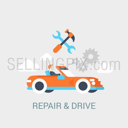 Car repair service concept flat icon of convertible cabrio sportcar driver hammer wrench gear sign and website click for infographics design web elements vector illustration.