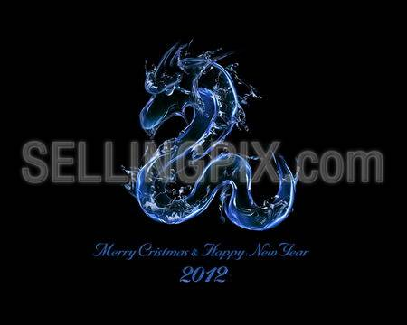 2012 is Year of Black Water Dragon: liquid concept of New Year 2012 illustration for greeting card, calendar cover