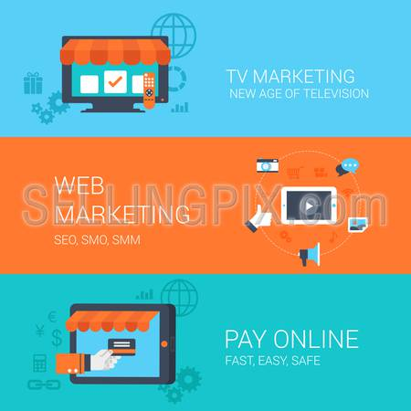 Business concept flat icons set tv web marketing online payment and website click for infographics design web elements vector illustration.