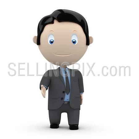 Welcome! Social 3D characters: businessman hand for shake, welcome or greeting. New constantly growing collection of expressive unique multiuse people images. Concept for welcoming illustration.