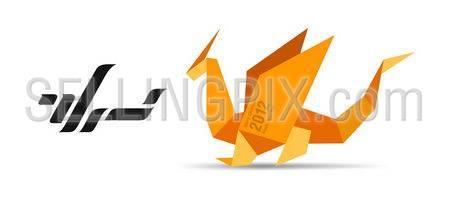 Origami Dragon concept. Origami collection
