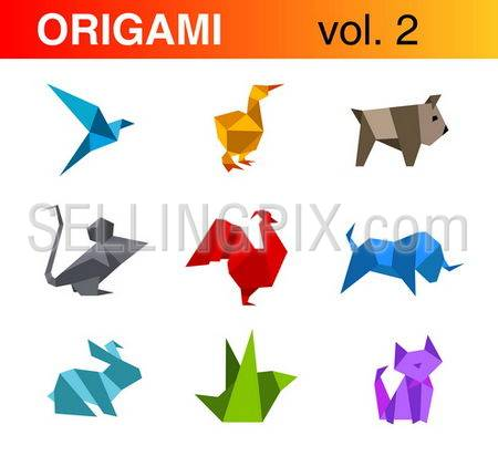 Origami animals logo templates collection 2:bird, duck, dog, mouse, rooster, bull, rabbit, cat.Vector.