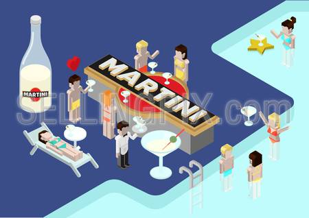 Flat style vector illustration isometric concept of brand Martini. People at the pool bar drinking Martini.
