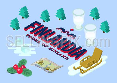 Flat style vector isometric illustration concept of Finlandia vodka in the winter snow forest. Ice glasses, cubes, sledge, exploration map and currant berries.