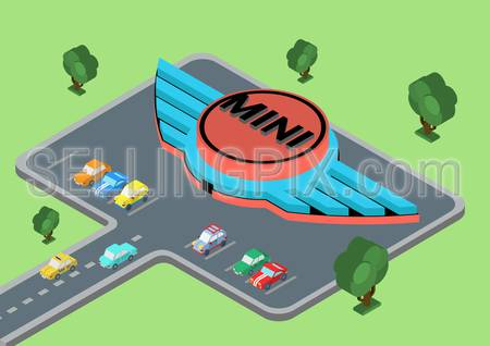 Flat style 3D isometric vector illustration concept of Mini winged logo at parking area.