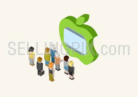 Flat style 3D isometric vector illustration concept of people looking at big Apple style TV screen.
