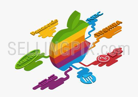 Flat style 3D isometric vector illustration concept of Apple multicolor logo leaked to the other brands: LG, HP, Toshiba, NEC, Panasonic, Sansung.