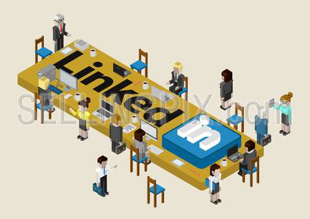 Flat style isometric vector illustration concept of Linked In professional social network media. Conference room table with logo and business people around it.