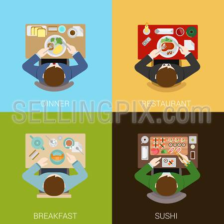 Food meal time top view concept flat icons set of dinner restaurant breakfast sushi vector web illustration website click infographics elements collection.