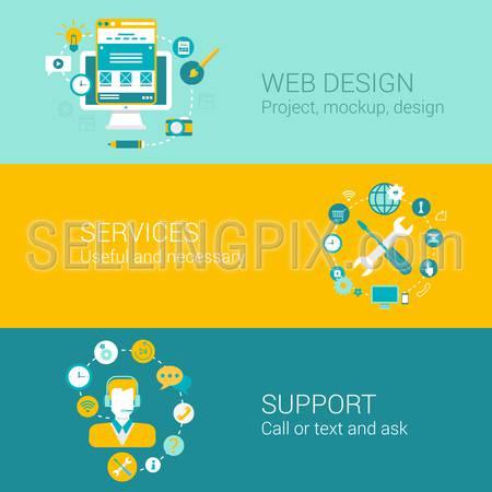 Web design concept flat icons set of project mockup interface usability services support and vector web illustration website click infographics elements collection.