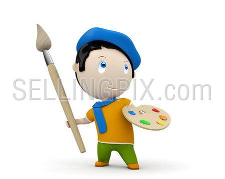 Artist at work! Social 3D characters: painter with brush and palette wearing beret and scarf. New constantly growing collection of expressive unique multiuse people images. Isolated.