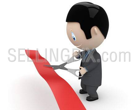 Unveiling! Social 3D characters: businessman in suit cutting red line with scissors. New constantly growing collection of expressive unique multiuse people images. Concept for opening illustration.