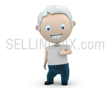 Like it! Social 3D characters: happy smiling man wearing jeans and t-shirt showing big finger. New constantly growing collection of expressive unique multiuse people images. Isolated.