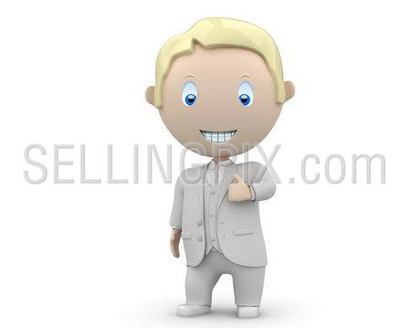 Like it! Social 3D characters: smiling businessman showing big finger. New constantly growing collection of expressive unique multiuse people images. Concept for social like illustration. Isolated.