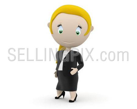 Businesswoman! Social 3D characters: business lady stands still. New constantly growing collection of expressive unique multiuse people images. Concept for woman in business illustration. Isolated.