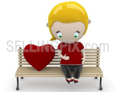 Love fruit! Social 3D characters: pregnant woman on a bench with heart sign. New constantly growing collection of expressive unique multiuse people images. Concept for family illustration. Isolated.