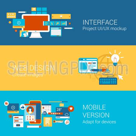 Web site interface design concept flat icons set of project ui ux webdesign mobile version adaptation and vector web illustration website click infographics elements collection.