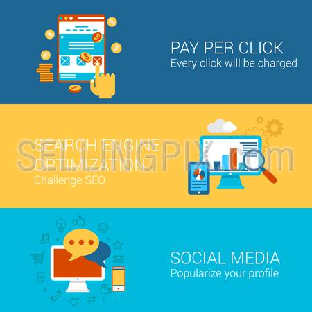 SEO SMM online advertisement concept flat icons set pay per click interface search engine optimization social media marketing vector web illustration website click infographics elements collection.