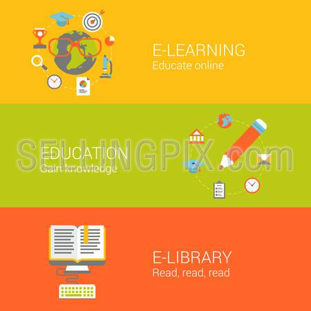 Online education concept flat icons set of e-learning knowledge e-library electronic reading and vector web illustration website click infographics elements collection.