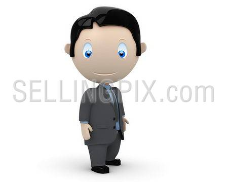 Businessman! Social 3D characters: happy young business man stands still. New constantly growing collection of unique multiuse people images. Concept for people in business illustration. Isolated.