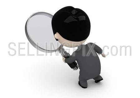 Search process! Social 3D characters: businessman with loupe searching. New constantly growing collection of expressive unique multiuse people images. Concept for search engine illustration. Isolated.
