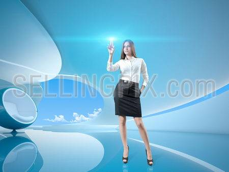 Pretty brown-haired girl pressing glowing holographic interface button. Stylish future bio interior with chair on background. Future conceptual interfaces collection of multi purpose images.